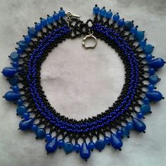 Gemstones beadwork collar - statement  necklace