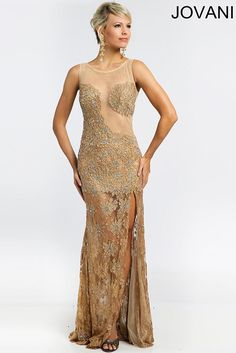 Jovani 99137 has a golden scoop neckline with a sheer back with a front slit illusion feature with a floral design.