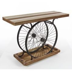This beautiful metal wheel console table will look amazing in your home. Made from high quality wood, this table is sturdy. This table has a wheel stand to make Resin Patio Furniture, Plywood Furniture, Industrial Furniture, Console Table, Sofa Tables, Furniture Deals, Diy Furniture, Bicycle Decor, Into The Woods