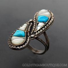 VINTAGE SOUTHWESTERN TURQUOISE & MOTHER OF PEARL SHADOWBOX BYPASS STERLING SILVER ELONGATED RING - SIZE 7.25 – Gold Stream Boutique