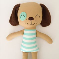 This puppy doll is made with love! He is about 15 inches tall and made from high quality cotton fabrics and wool blend felt accessories. His face is hand embroidered. Extra outfits can be purchased. Contact me if you would like to customize your own doll! PLEASE NOTE ❤ Dolls