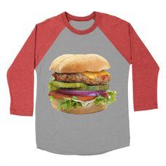 cheeseburger-2 womens baseball-triblend-t-shirt in chili_red_sleeves