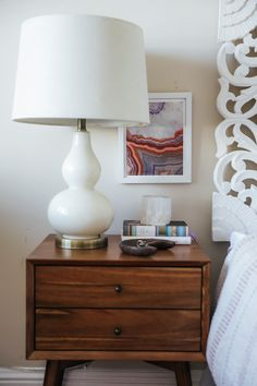 Wood bedside table and boho home style