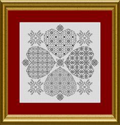 BLACKWORK grafico cuori in trifoglio