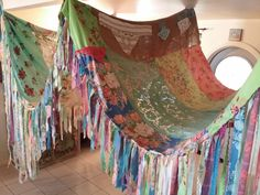 BOHO Tent Canopy  teepee vintage textiles Gypsy hippie patchwork bed canopy Wedding curtain photo prop festival Bohemian Shabby Chic party