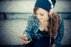 beautiful young blonde hipster woman listening music BUY IT FROM $1