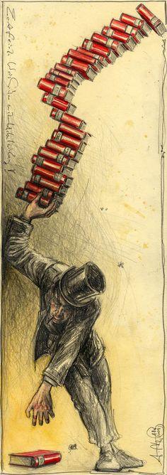 Andreas Noßmann ~ illustration: pencil, colored pencil / Kramer Bilder - Rahmen