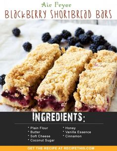 Airfryer Recipes | Air Fryer Blackberry Shortbread Bars recipe from RecipeThis.com
