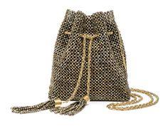 ISABELA - Bolsa em cristal com malha interna camurça e alça corrente. #Bolsa #Clutches