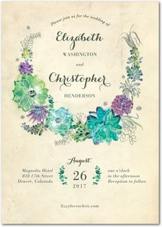 Splendid Succulent - Signature White Wedding Invitations in Walnut or Eggshell | Petite Alma