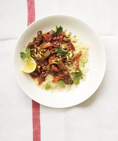 Slow-Cooker Lamb, Apricot, and Olive Tagine from Real Simple. I love Moroccan food--can't wait to try this in my new slow cooker!
