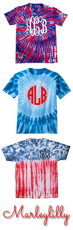 Monogrammed USA Flag Tie Dye T-Shirt from Marleylilly.com #USA #July4th #America