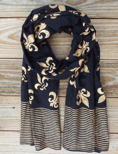 Fleur de Lis Scarf on Black from Passion Lilie, Fair trade. Handblock printed. 100% cotton. Eco dyes.