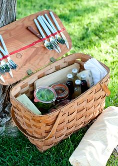 12 Secrets to the Perfect Picnic  |  A picnic basket doesn't always have to be a basket. Baskets are fun, coolers are practical, and plastic grocery sacks are inexpensive. What will suit the needs of your picnic best? Wooden crates are great for lugging around a heavy load. Or a stylish beach bag might be just the thing. My preferred carrier is a good, old fashioned wooden picnic basket.