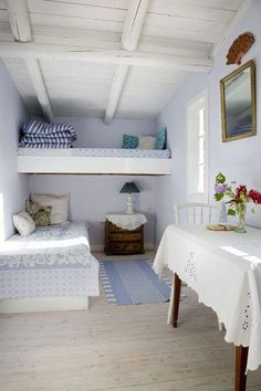 Living Large In Small Spaces - Nostalgic Summerhouse Cottage Style Decor, Beach Cottage Style, Beach House Bedroom, Home Bedroom, Lit Simple, Ideas Hogar, Compact Living, House Beds, Beach Cottages