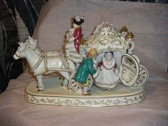 Huge Antique Dresden Lace German Porcelain Carriage
