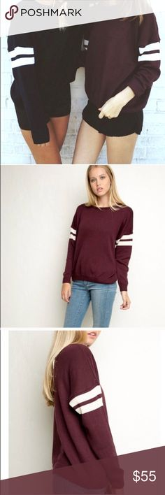 Brandy Melville 'Veena' Varsity Sweater Brandy Melville 'Veena' Sweater in maroon with varsity stripes. Super cute for the winter. 100% Cotton. Brand new with tag (NWT). No longer sold by Brandy Melville. Brandy Melville Sweaters