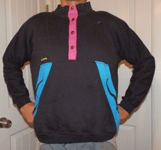 e1ef2ec7e9efd vtg 90 s COLUMBIA sweatshirt neon pink   blue pullover sweater jacket MENS  small  Columbia  SweatshirtCrew. acliff vintage · mens vintage ski clothing