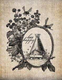 Antique Bee Happy Frame Bee Hive Digital Download for Tea Towels, Papercrafts…