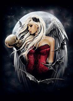 Dark Angels, Angels And Demons, Fallen Angels, Gothic Angel, Gothic Fairy, Illustration Fantasy, Portrait Illustration, Dark Fantasy Art, Dark Gothic Art