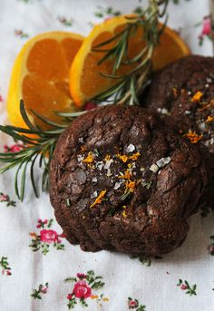 molten chocolate cookies with sea salt, rosemary, and orange zest- by reading my tea leaves