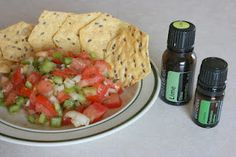 To try (like most things I pin). FRESH TOMATO SALSA recipe using ESSENTIAL OILS. from healthyfoodshouldtastegood.com Ingredients: 3 vine ripened tomatoes, 1/2 cup minced onion (about 1/2 small onion), 2 anaheim peppers, 3 teaspoons garlic, 1 tablespoon dried parsley, 3 drops doTERRA lime essential oil, 2 drops doTERRA cilantro essential oil, [it says to use 1/4-1/2 teaspoon salt but I want to leave that out]