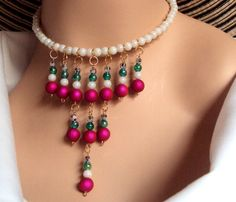 Fuchsia white and emerald green beaded bauble necklace