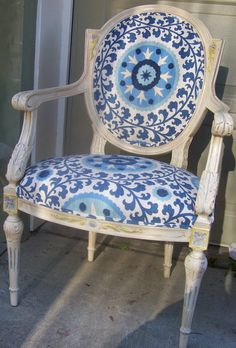 this chair was upholstered but the frame was kept antiqued. Has a cool vibe to it.