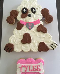 DOG~Puppy pull apart cupcake cake by Tres Sweet Pull Apart Cupcake Cake, Pull Apart Cake, Cupcake Cakes, Puppy Cupcakes, Puppy Cake, Cupcake Flavors, Cupcake Recipes, Cupcake Ideas, Puppy Birthday Cakes