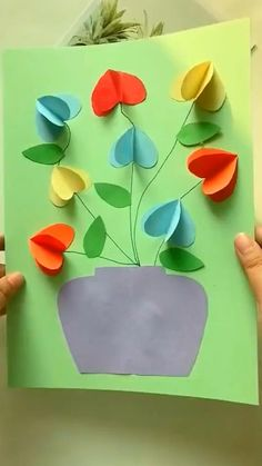 Paper Crafts Origami, Diy Crafts For Gifts, Paper Crafts For Kids, Craft Activities For Kids, Creative Crafts, Preschool Crafts, Fun Crafts, 3d Paper, Hand Crafts For Kids