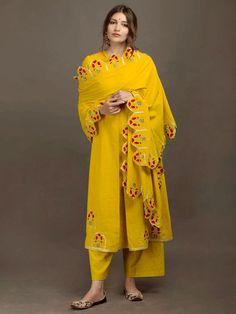 Yellow Khadi Embroidered Dupatta