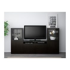 "BESTÅ TV storage combination/glass doors - Hanviken/Sindvik black-brown clear glass, drawer runner, push-open, 94 1/2x15 3/4x50 3/8 "" - IKEA"
