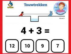 Touw trekken, sommen maken met kleuters op digibord of computer op kleuteridee, Kindergarten math game for IBW or computer