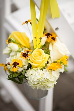 Yellow and white flowers in mason jars. Bonnie + Sunny = Happy Wedding at the Falkirk Estate » Fucci's Photos of Boston | Boston Wedding Photographer