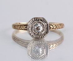 Antique 1920s Art Deco 14k Yellow and White Gold Diamond Engagement Ring