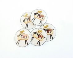 5 Americana Sheep  Buttons.  Sheep and United by buttonsbyrobin, $9.99
