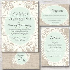 Lace & Burlap Rustic Wedding Invitation, Printable DIY: Shabby Chic Mint Green and Cream Doily with Calligraphy Invite, RSVP, Details High Tea Wedding, Spring Wedding, Our Wedding, Dream Wedding, Wedding 2015, Wedding Cards, Vintage Wedding Invitations, Wedding Stationary, Doily Invitations