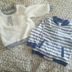 2pc bundle size 24m Both items have never been worn. One super soft white sweater with black stripes the other is a blue and white zip up cardigan. First  Impressions  Other