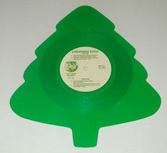 """THIS IS AN ACTUAL VINYL RECORD ALBUM!  V.A. - Various Artists Christmas Rock (Special Christmas Tree-Shaped Record!!) 12"""" 33 EP - 4.98 - 0-RNOR-652.  Picture Disc."""