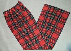 vintage 1970s red plaid pants 70s wool Clan Stewart by retrotrend