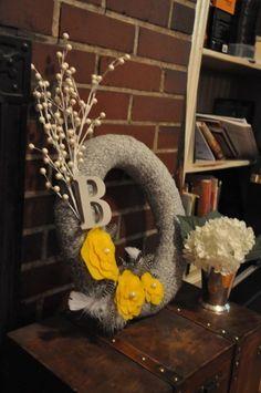wreath.  i like the small letter idea