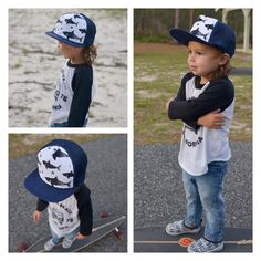 Kids and baby trucker hat. Sharks