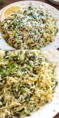This simple, delicious, and authentic Spanakorizo (Greek Spinach Rice) makes a filling vegetarian meal or side dish. Fresh dill, chives, and lemon juice give it an extraordinary flavor and aroma. Rice Side Dishes, Greek Dishes, Vegetable Dishes, Food Dishes, Side Dish Recipes, Vegetable Recipes, Vegetarian Recipes, Cooking Recipes, Healthy Recipes