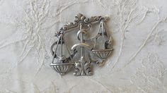 Vintage Pewter Pin Brooch Scale of Justice Attorney Judge Jewelry