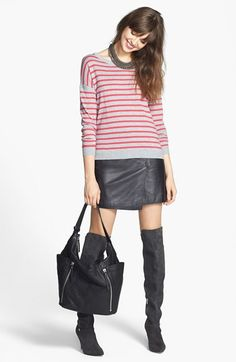 Caslon® Sweater & Halogen® Leather Miniskirt  available at #Nordstrom