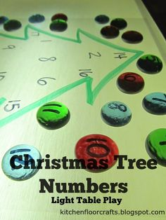 Kitchen Floor Crafts: Christmas Tree Numbers (for the Light Table) Preschool Christmas, Christmas Activities, Preschool Crafts, Math Activities, Christmas Themes, Christmas Crafts, Christmas Decorations, Holiday Lights, Christmas Lights
