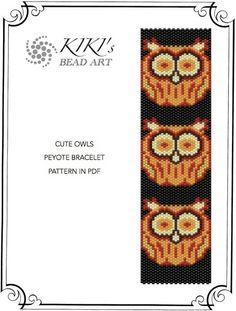 Cute owls peyote beaded cuff bracelet pattern PDF instant download