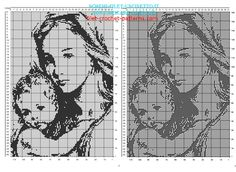 Blessed Virgin Mary and child free filet crochet pattern 160 x 110 squares - free filet crochet patterns download