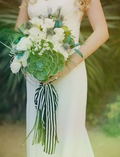 Nautical bouquet with navy and white striped ribbon and big succulent  http://thismodernromance.com