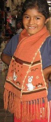 Orange farbener bestickter #Schal für #Kinder, #Alpakawolle Inka, Elegant, Apron, Sari, Fashion, Ponchos, Orange Color, Alpacas, Silk